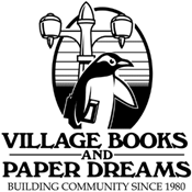Village Books and Paper Dreams logo with penguin and street light