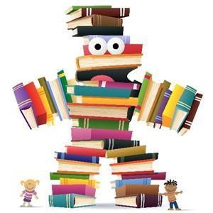 Cartoon of person made of books