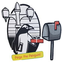 Paige the Penguin mailing a package