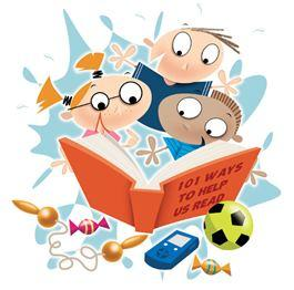 Cartoon image of children reading a book.