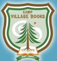 Camp Village Books log of tree and book