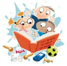 Cartoon image of children reading a book.